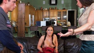 Stepmom catches stepdaughter getting fucked and joins